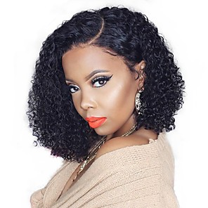 cheap Synthetic Trendy Wigs-Remy Human Hair 13x6 Closure Wig Bob Asymmetrical Deep Parting style Brazilian Hair Deep Curly Natural Wig 150% Density with Baby Hair Natural Hairline African American Wig For Black Women short