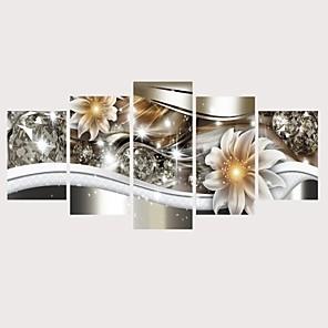 cheap Prints-Print Rolled Canvas Prints Stretched Canvas Prints - Botanical Floral / Botanical Comtemporary Modern Five Panels Art Prints