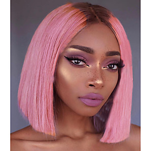 cheap Synthetic Trendy Wigs-Unprocessed Human Hair Lace Front Wig Bob Deep Parting Beyonce style Brazilian Hair Silky Straight Pink Wig 150% Density with Baby Hair with Clip With Bleached Knots Women's Short Human Hair Lace Wig