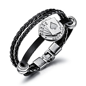 cheap Pendant Necklaces-Men's Leather Bracelet Loom Bracelet Braided Poker Trendy Fashion Cord Bracelet Jewelry Black For Daily Work