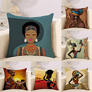 cheap Throw Pillow Covers-Set of 6 Cotton / Linen Pillow Case, Novelty Classic Oil Painting Antique Artistic Style Throw Pillow