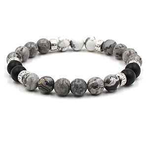 cheap Men's Bracelets-Men's Women's Brown White Natural Stone Bead Bracelet Beaded Cathedral Ball Hip-Hop Stone Bracelet Jewelry White / Brown For Wedding Ceremony