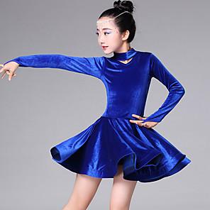 cheap Latin Dancewear-Latin Dance Kids' Dancewear Dress Cascading Ruffles Girls' Training Performance Long Sleeve Pleuche