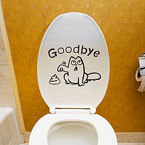 cheap Wall Stickers-Toilet Stickers - Plane Wall Stickers Animals Living Room / Bedroom / Bathroom / Re-Positionable