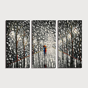 cheap Abstract Paintings-Oil Painting Hand Painted - Landscape Modern Stretched Canvas / Three Panels