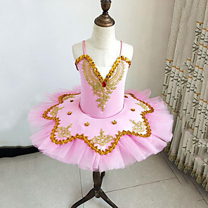 cheap Kids' Dancewear-Kids' Dancewear Ballet Dress Beading Embroidery Split Joint Girls' Training Performance Sleeveless Mesh Polyester