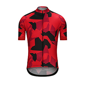cheap Cycling Jerseys-Men's Short Sleeve Cycling Jersey Black / Red Camo / Camouflage Bike Jersey Top Sports Clothing Apparel / High Elasticity