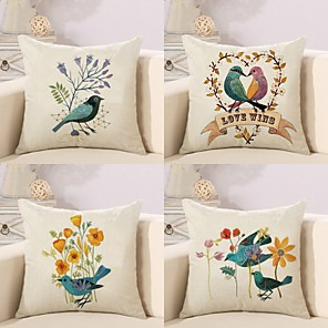 cheap Pillow Covers-4 pcs Cotton / Linen Pillow Cover Pillow Case, Floral Animal Feathers Pattern Rustic