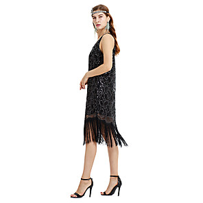 cheap Historical & Vintage Costumes-Cosplay The Great Gatsby Charleston Vintage 1920s Flapper Dress Dress Women's Sequins Tassel Sequin Costume Black Vintage Cosplay Party Prom Festival Sleeveless Tea Length Princess