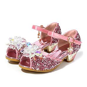 cheap Kids' Sandals-Girls' Flower Girl Shoes Synthetics Heels Toddler(9m-4ys) / Little Kids(4-7ys) / Big Kids(7years +) Crystal Pink / Blue / Silver Summer / Peep Toe / Rubber