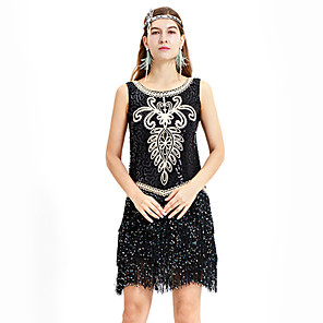 cheap Historical & Vintage Costumes-The Great Gatsby Charleston Vintage 1920s Flapper Dress Party Costume Masquerade Women's Sequins Sequin Costume Black Vintage Cosplay Party Homecoming Prom Sleeveless Above Knee