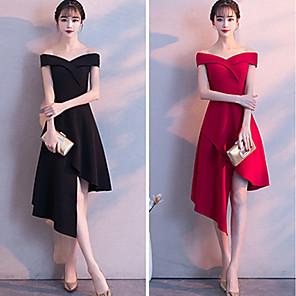 cheap Bridesmaid Dresses-A-Line Off Shoulder Knee Length Satin Bridesmaid Dress with Split Front