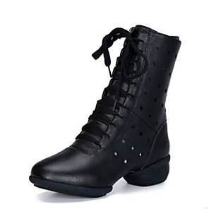 cheap Dance Boots-Women's Dance Shoes PU Dance Boots Boots Flat Heel White / Black / Red / Performance / Practice