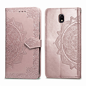 cheap Samsung Case-Case For Samsung Galaxy J3 (2017) Card Holder / Flip Full Body Cases Solid Colored Soft PU Leather for J3 (2017)