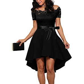 cheap Synthetic Lace Wigs-Women's A-Line Dress Short Mini Dress - Short Sleeve Dusty Rose Solid Colored Off Shoulder Sexy Cocktail Party Going out Slim White Black Blushing Pink Wine Navy Blue S M L XL XXL