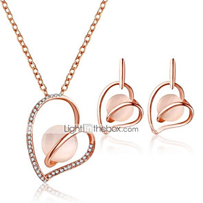 cheap Jewelry Sets-Women's Drop Earrings Pendant Necklace 3D Heart Hollow Heart Stylish Unique Design Rhinestone Earrings Jewelry Pink For Daily Evening Party 1 set