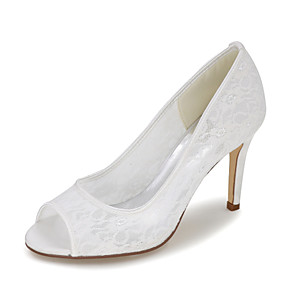 cheap Wedding Shoes-Women's Wedding Shoes Spring / Summer Stiletto Heel Peep Toe Minimalism Wedding Party & Evening Solid Colored Satin / Mesh White / Black / Red