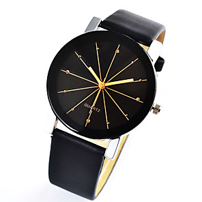cheap Quartz Watches-Couple's Dress Watch Quartz Leather Black Casual Watch Analog Casual Fashion - Black One Year Battery Life / Stainless Steel