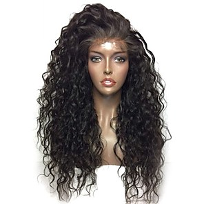 cheap Synthetic Lace Wigs-Synthetic Lace Front Wig Kinky Curly with Baby Hair Lace Front Wig Medium Length Black#1B Synthetic Hair 24 inch Women's Heat Resistant Party Women Black