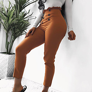 cheap Women's Boots-Women's Basic Sophisticated Dress Pants Chinos Pants - Solid Colored Classic High Waist Black Camel S / M / L