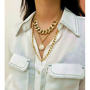 cheap Tattoo Stickers-Women's Pendant Necklace Necklace Layered Necklace Aluminum Chrome Gold Silver 40 cm Necklace Jewelry 1pc For Wedding Gift Daily Ceremony Date