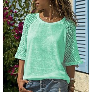 cheap Women's Sandals-Women's Plus Size T-shirt Solid Colored Lace Patchwork Tops White Blue Purple