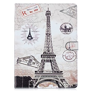 cheap iPad case-Case For Apple iPad Air / iPad 4/3/2 / iPad Mini 3/2/1 Shockproof / with Stand / Pattern Full Body Cases Eiffel Tower / Oil Painting Hard PU Leather / iPad (2017)