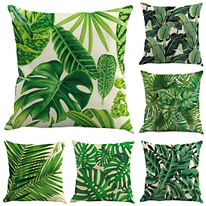 cheap Cushion Covers-Set of 6 Cotton / Linen Pillow Case, Botanical Leaf Contemporary Holiday Tropical Throw Pillow