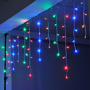 cheap LED Strip Lights-4m 96 LEDs Icicle Curtain Light can be Linkable to the String Light White Blue Warm White Pink Purple Red Yellow Multi-color 220-240V 1pc