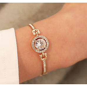 cheap Necklaces-Women's Bracelet Bangles Classic Circle Stylish Elegant Alloy Bracelet Jewelry Rose Gold / Gold / Silver For Daily Date Valentine
