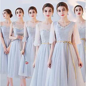 cheap Party Hats-A-Line Off Shoulder Tea Length Tulle Bridesmaid Dress with Appliques