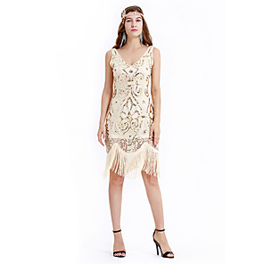 cheap Historical & Vintage Costumes-The Great Gatsby Charleston Retro Vintage 1920s Wasp-Waisted Flapper Dress Dress Women's Sequins Tassel Sequin Costume Beige Vintage Cosplay Party Homecoming Knee Length