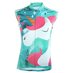 cheap Women's Cycling Jerseys-ILPALADINO Women's Sleeveless Cycling Jersey Summer Polyester Mineral Green Cartoon Bike Jersey Top UV Resistant Breathable Reflective Strips Sports Clothing Apparel / Back Pocket