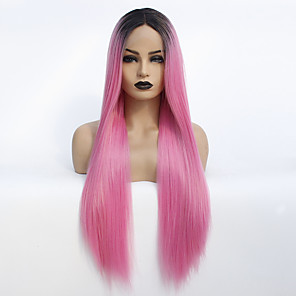 cheap Synthetic Lace Wigs-Synthetic Lace Front Wig Straight Middle Part Lace Front Wig Ombre Long Black / Pink Synthetic Hair 22-26 inch Women's Heat Resistant Women Dark Roots Ombre / Glueless