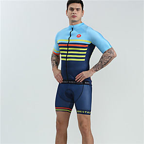 cheap Triathlon Clothing-BOESTALK Men's Short Sleeve Cycling Jersey with Shorts Spandex Blue Stripes Bike Clothing Suit Breathable 3D Pad Quick Dry Moisture Wicking Ultraviolet Resistant Sports Stripes Mountain Bike MTB Road