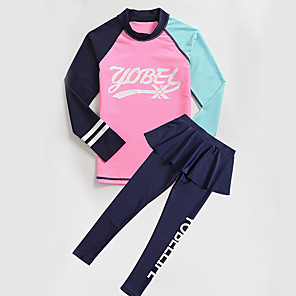 cheap Wetsuits, Diving Suits & Rash Guard Shirts-YOBEL Girls' Rash Guard Dive Skin Suit Neoprene Diving Suit Quick Dry Full Body 2-Piece - Swimming Diving Solid Colored Letter & Number Autumn / Fall Spring Summer / Winter / Kid's
