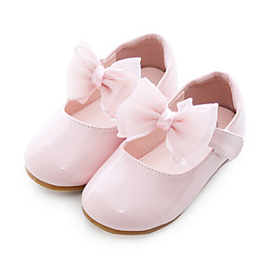 cheap Kids' Flats-Girls' Comfort / Flower Girl Shoes / Children's Day PU Flats Toddler(9m-4ys) Bowknot White / Light Pink Spring / Fall / Party & Evening / Rubber