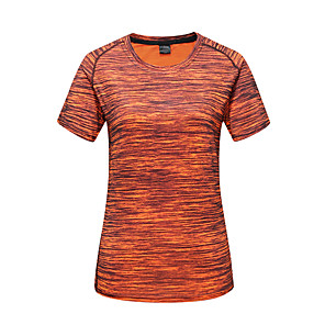 cheap Softshell, Fleece & Hiking Jackets-Women's Camo Hiking Tee shirt Short Sleeve Outdoor Breathable Quick Dry Stretchy Sweat-wicking Tee T-shirt Top Spring Summer Polyester Crew Neck Camping / Hiking Hunting Fishing Red Light Green