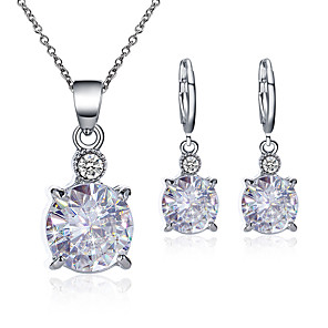 cheap Jewelry Sets-Women's Cubic Zirconia Drop Earrings Pendant Necklace Simple Classic Vintage Imitation Diamond Earrings Jewelry White For Party Prom Birthday Festival 3pcs / pack