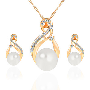 cheap Jewelry Sets-Women's Stud Earrings Pendant Necklace Retro Classic European Elegant Imitation Pearl Rhinestone Earrings Jewelry Gold / Silver For Party Ceremony Festival 3pcs / pack