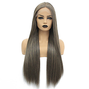 cheap Synthetic Lace Wigs-Synthetic Lace Front Wig Straight Middle Part Lace Front Wig Long Brown Synthetic Hair 22-26 inch Women's Heat Resistant Women Hot Sale Brown / Glueless
