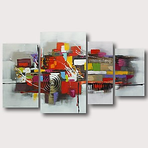 cheap Abstract Paintings-Oil Painting Hand Painted - Abstract Comtemporary Modern Stretched Canvas / Four Panels
