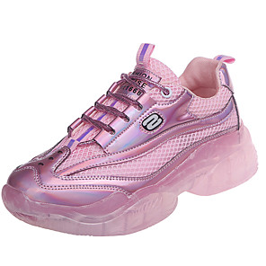 cheap Women's Boots-Women's Athletic Shoes 2020 Flat Heel Round Toe Mesh Booties / Ankle Boots Sporty / Casual Running Shoes / Walking Shoes Spring & Summer / Fall & Winter Pink / Silver