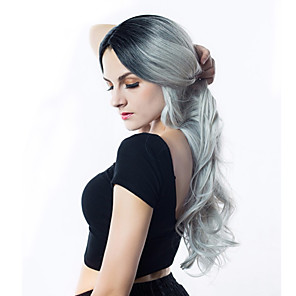 cheap Synthetic Trendy Wigs-Synthetic Wig Body Wave Asymmetrical Wig Ombre Long Black / Grey Synthetic Hair 24INCH Women's Adjustable Heat Resistant Party Ombre