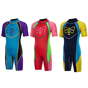 cheap Wetsuits, Diving Suits & Rash Guard Shirts-Bluedive Boys' Girls' Shorty Wetsuit 2.5mm SCR Neoprene Diving Suit Thermal / Warm Quick Dry Anatomic Design Short Sleeve Back Zip - Diving Water Sports Patchwork Autumn / Fall Spring Summer / Winter