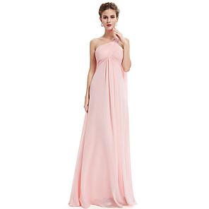 cheap Bridesmaid Dresses-A-Line Cross Front Floor Length Chiffon Bridesmaid Dress with Sash / Ribbon
