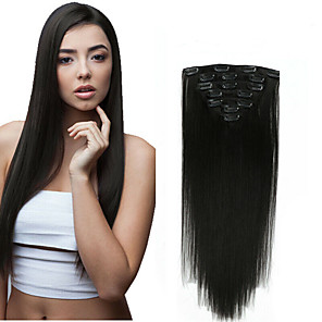 cheap Synthetic Extensions-Clip In Human Hair Extensions Straight Virgin Human Hair Human Hair Extensions 14-20 inch Natural Medium Brown / Strawberry Blonde