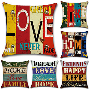 cheap Pillow Covers-Set of 6 Cotton / Linen Pillow Case, Classic Letter Printing Traditional / Vintage European Style Throw Pillow