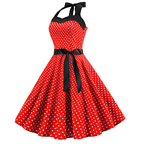 cheap Historical & Vintage Costumes-Women's A-Line Dress Knee Length Dress - Sleeveless Polka Dot Print Halter Neck 1950s Vintage Blue Red Blushing Pink Light Blue S M L XL XXL