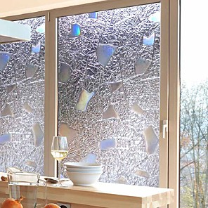 cheap Wall Stickers-Window Film & Stickers Decoration Contemporary / 3D Geometric PVC(PolyVinyl Chloride) Window Sticker / Anti-Glare